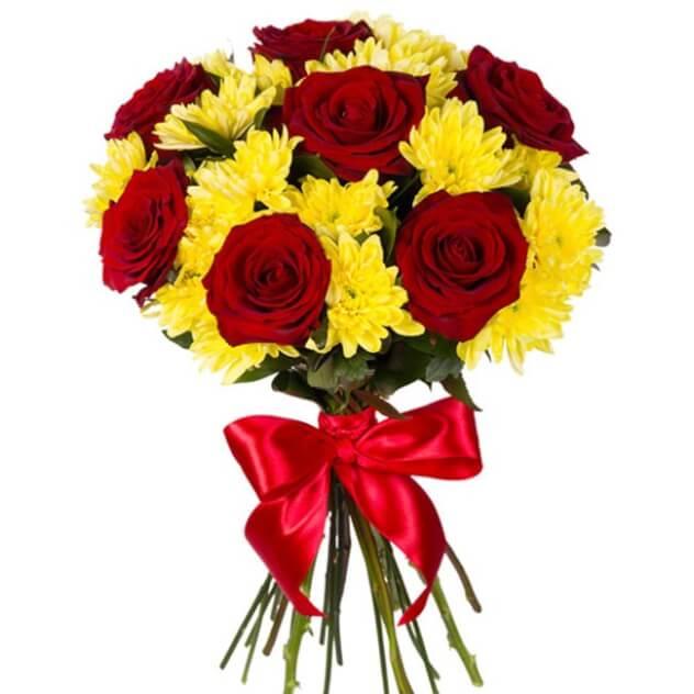 букет 7 роз 4 хризантемы